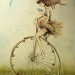 La Bicicleta con alas - Técnica gis pastel