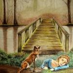 La doncella y el zorro - Técnica gis pastel
