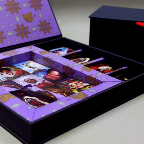 Caja de Lotería en papel Palomas Lila