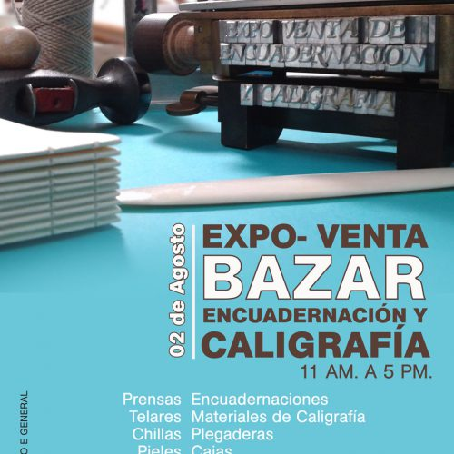 Cartel para Expo Bazar de Encuadernación y Caligrafía